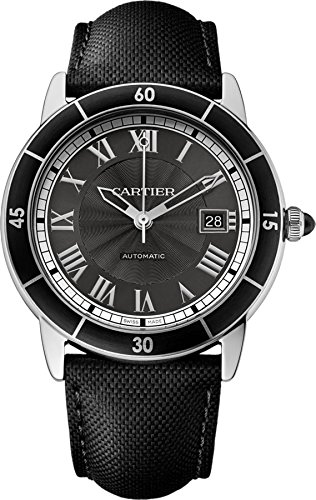Cartier Men's Ronde Croisiere 40mm Black Leather Band Steel Case Automatic Grey Dial Analog Watch WSRN0003