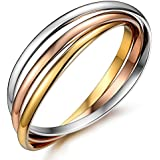 "JewelryWe Hypoallergenic Tri-Colour Stainless Steel Interlocking Bangle Bracelets for Girls Women, 7.87"" Length, Birthday Gift (with Gift Bag)"