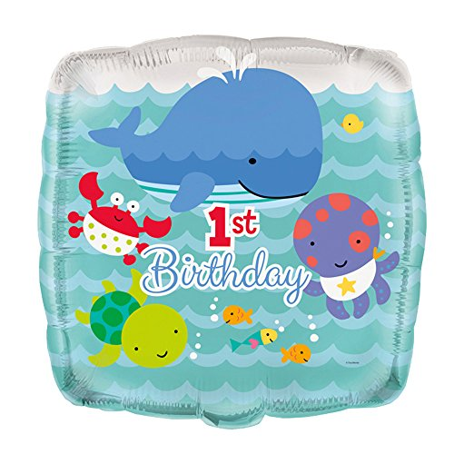 "18"" Foil Square Under the Sea 1st Birthday Balloon"