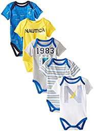Nautica Baby-Boys Newborn 5 Pack 1983 Bodysuit, Assorted, 6-9 Months