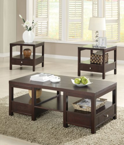Image of END TABLE OCCASIONAL 3 PIECE SET BROOKLYN ESPRESSO FINISH (B008W1GFVW)