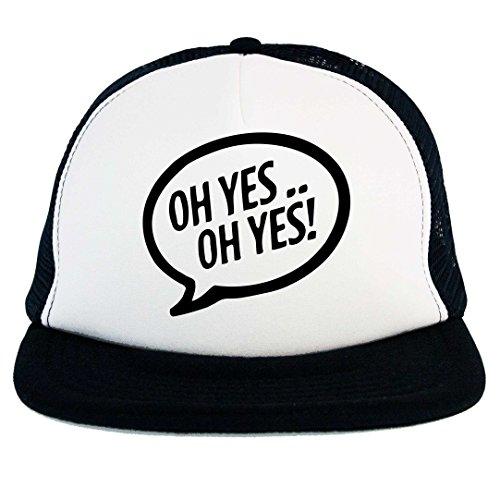 Cappello Oh Yes Carl Cox Dj, Trucker Cap nero con pannello frontale bianco, logo musica Techno