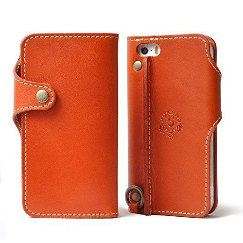 [550]手帳型 iPhone6 ケース オイルレザー 本革 栃木レザー  (オレンジ, 左手持ち)