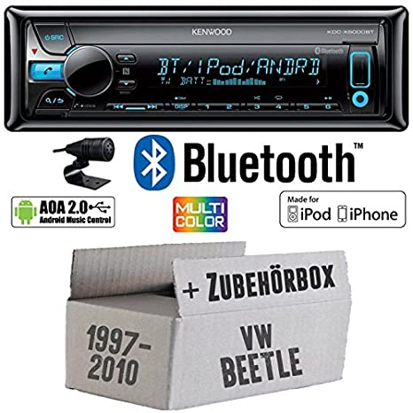 VW Beetle 19C-Kenwood de X5000bt-Bluetooth Kit de montage autoradio CD/MP3/USB varioc OCTOCOLOR -