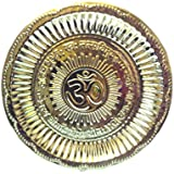 Brass Pooja Plate With Gayatri Mantra & Om Design - 19 Cms. Dia.