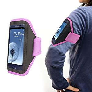 Xtra-Funky Exclusive High Quality Comfortable Universal Soft Neopreme Gym Sports Exercise Armband Holder Case With Adjustable Velcro Strap And Clear Plastic Front Shield For Most Mobile Devices (See Product Page For Compatibility List) -- PINK