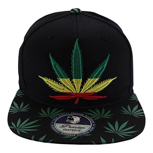 Enimay-Weed-Marijuana-Pot-Leaf-Snapback-Hat-Big-Leaf-Black-Green-Rasta