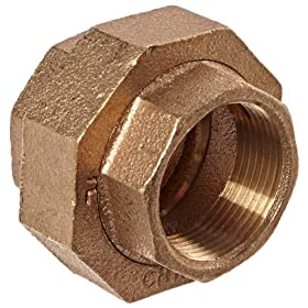 Anderson Metals 38104 Red Brass Pipe Fitting, Union, 1-1/4