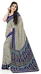 Design Willa Smooth feel Art crepe Sari (DWPC028,White)