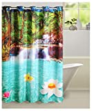 "Swayam Curtain Concept Printed Polyester Premium Shower Curtain - 72""x84"", Multicolor (CHW-5606 Pond)"