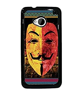 PrintDhaba Mask D-3064 Back Case Cover for HTC ONE M7 (Multi-Coloured)