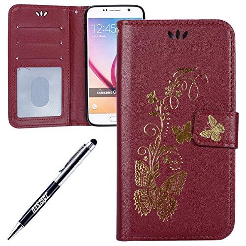 Galaxy-S6-LedertascheSamsung-Galaxy-S6-Flip-HlleJAWSEU-Neuheit-RetroVintage-Luxus-Gold-Schmetterling-Muster-LanyardStrap-Pu-Leder-Schale-Handytasche-Schutzhlle-Etui-Magnetverschluss-Book-Style-Flip-Br