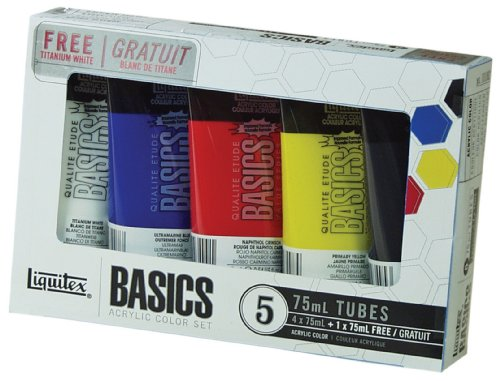 Liquitex Basics Acrylic Color Set, 4-pack of 75mL tubes with Bonus Titanium White (Elf Set And Seal compare prices)