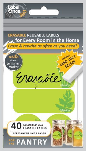 Jokari Label Once Pantry Erasable Labels Kit with 80 Labels and Eraser, 2-Pack