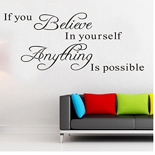 Inspirational Quotes Wall Stickers Art Decor For Girls Bedroom Quote Walll Sticker If You Believe In Yourself Anything Is Possible Removable Vinyl Wall Sticker Mural Decal Art