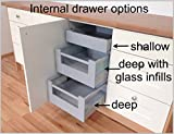 ONE x Internal kitchen drawer (shallow) with soft close. ALL SIZES AVAILABLE. From £49.70 (10- For 600 wide base with 18mm thick sides)