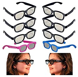 10 Pairs - OFFICIAL REALD 3D GLASSES PACK - (4 Kids and 6 Adult) Circular Polarized for Passive 3-D TV's Televisions from Vizio, Toshiba, LG, Philips and JVC also for use in Real-D Theaters!