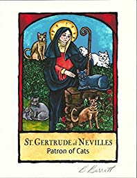 Patron of Cats Art Print: St Gertrude of Nevilles