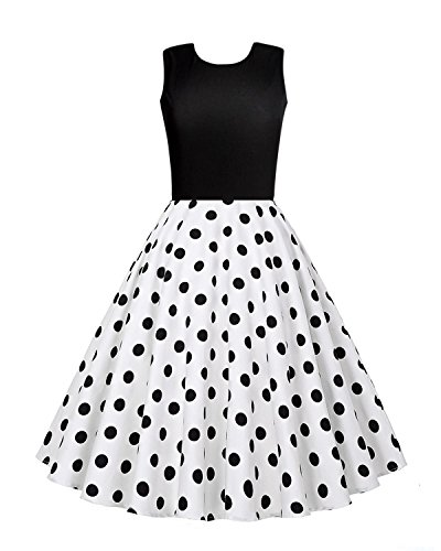 OUGES Women's 1950s Sleeveless Patchwork Vintage Dress,Black and Dot,Large