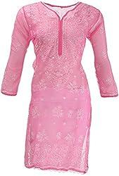 AKS Lucknow Women's Regular Fit Kurti (TK-55_38, PINK, 38)