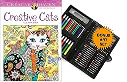Creative Haven Creative Cats Coloring Book and Twiggler Art Set. INCLUDES SET OF COLORED PENCILS, MARKERS, PASTELS AND MUCH MORE.