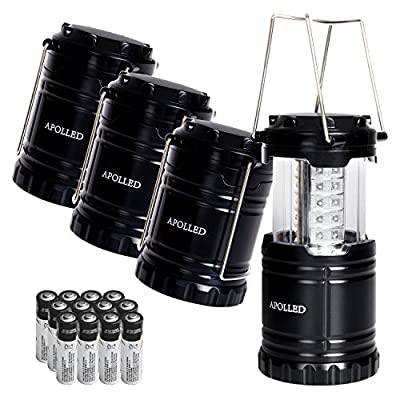 LED Lantern, APOLLED 4 Pack Portable Outdoor 30 LED Ultra Bright Waterproof Camping Lantern with 12 AA Batteries for Hiking, Camping, Emergencies (Black, Collapsible)