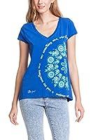 Desigual Orgu - T-shirt - Empire - Imprimé - Col V - Manches courtes - Femme