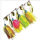 【ノーブランド品】01Z0F28 4魚/バッグ 釣具 8.5cm / 17g スピナーベイトベイトステンレス フック ルアー・フライ ハードルアー 定番カラー 4色