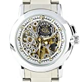 ORKINA MG015-S Mechanical Skeleton Stainless Steel Wrist Men Lady Quartz Watch
