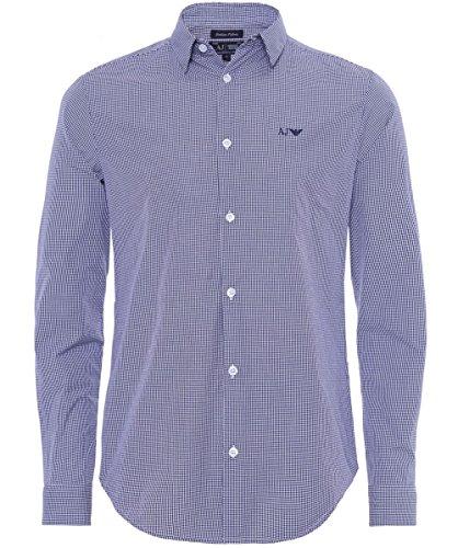 Armani Jeans Men's Camicia Slim Fit a quadri Blu Chiaro M