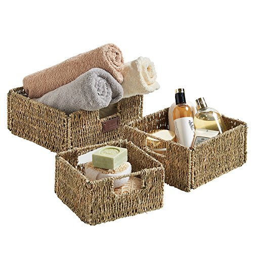 Vonhaus set of 3 square seagrass storage baskets with for Seagrass for landscaping