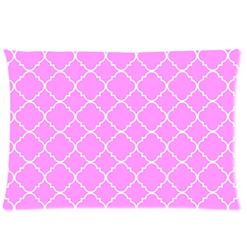 Cool Quatrefoil Simple Pink And White Classic Reticular Custom Zippered Pillow Cases 16X24 (Two Sides) front-941357