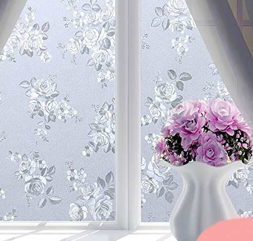 Coavas No Glue Static Decorative Privacy Window Film Self Adhesive Glass Film Frosted Window tint Stained Glass Window film For Bathroom Home Kitchen Office