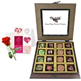 Dark And Sweet Collection Of Beautiful Chocolates With Love Card And Rose - Chocholik Belgium Chocolates