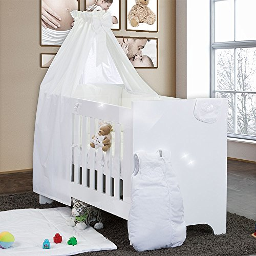 Hochglanz-Babybett-10-teilig-mit-Sleeping-Bear-Weiss