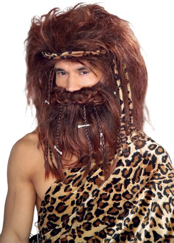 Rubie's Costume Bushy Caveman Beard and Wig Set, Brown, One Size