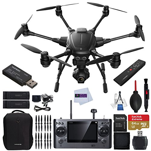YUNEEC Typhoon H RTF Hexacopter with GCO3+ 4K Camera Bundle includes YUNEEC Simulator + YUNEEC Wizard Wand + Extra Yuneec Battery + Extra 2x Yuneec Propellers Sets + YUNEEC Soft Backpack & More!!!
