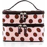 Tinksky Portable Polka Dots Womens Double couche double fermeture à glissière sac cosmétique toilette sac à main (rose)