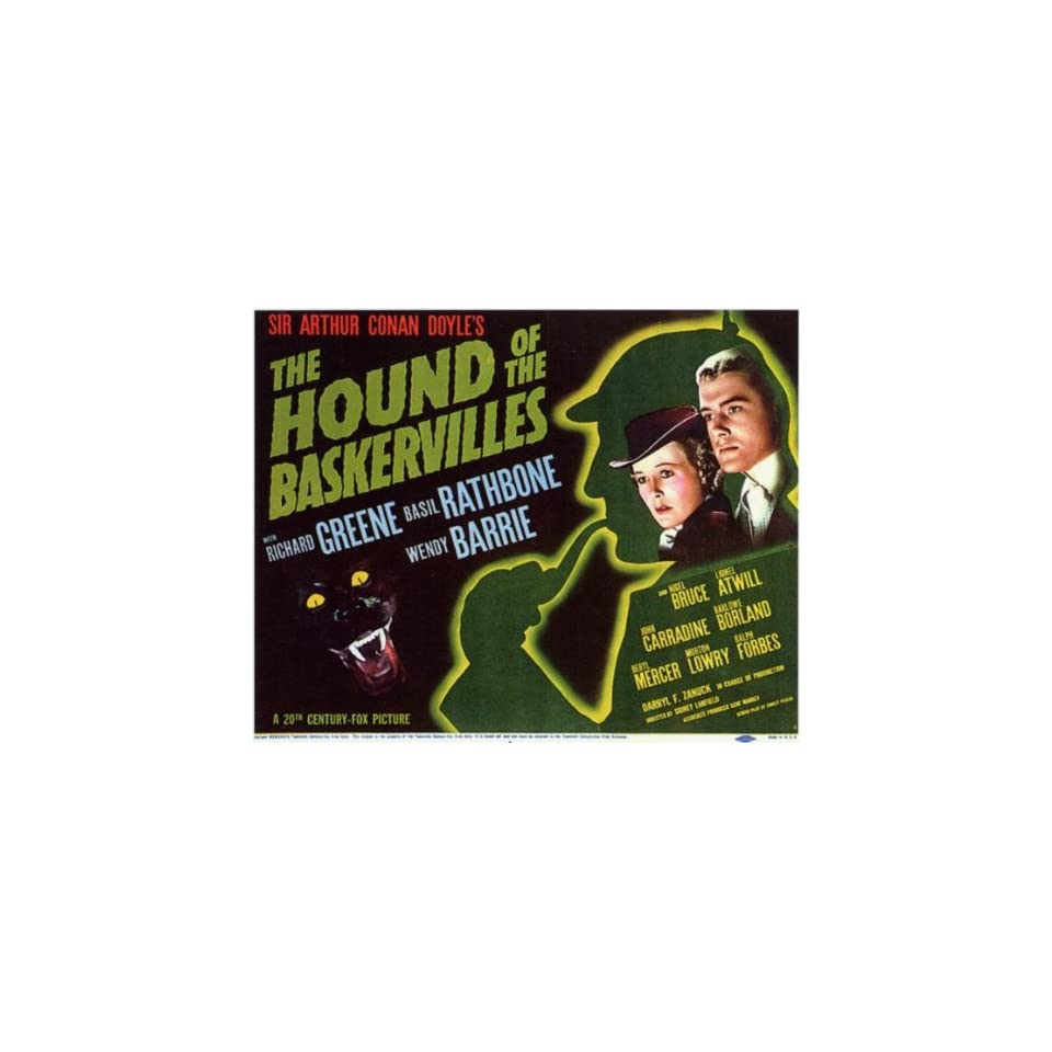 The Hound of The Baskervilles Movie Poster (11 x 14 Inches   28cm x 36cm) (1939) Style A  (Basil Rathbone)(Nigel Bruce)(Richard Greene)(John Carradine)(Wendy Barrie)(Lionel Atwill)