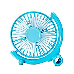 Generic Quiet USB Mini Desk Fan Blue