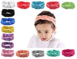 HITOP Newest Polka Dot Knotted Turban Baby Headbands Hair bands for baby girl (Weave Cross (15 pcs))