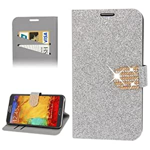 Diamond Encrusted Shimmering Powder Leather Case with Credit Card Slot & Holder for Samsung Galaxy Note 3 N9000 in Silver
