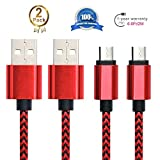 Android Charging Cable,Hankuke [2-Pack] Multi length and color Sturdy Nylon Fabric Braided High Speed Data Sync USB to Micro USB Cable (2m red)