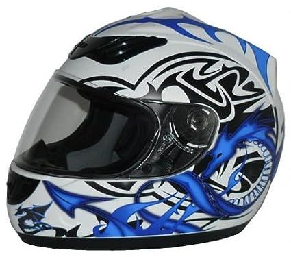 protectWEAR - Casque de moto bleu blanc Dragon design H 510-11-M