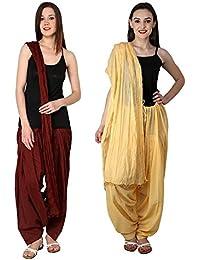 Like Women's Maroon Beige Free Size Cotton Patiala With Dupatta Combo Offer