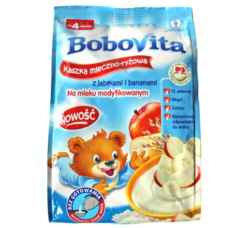 Bobovita Milk and Rice Gruel with Apple and Bananas for Babies (230g/8.1oz)