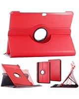 ebestStar ® - pour Tablette Samsung Galaxy TAB 2 10.1 P5100 / P5110 (10 pouces) - Housse Coque Etui PU cuir rotatif rotation 360° + 1 film de protection, Couleur ROUGE