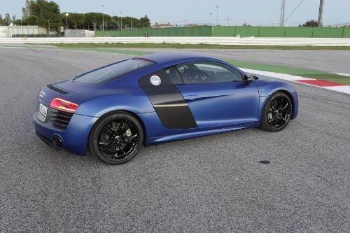 "Audi R8 V10 Plus (2014) Car Art Poster Print On 10 Mil Archival Satin Paper Blue Side Static View 16""X12"""