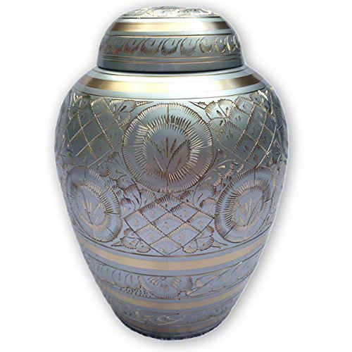 Small Silver Color Radiance Series Pet Urn and Memorial - For Dogs, Cats and other pets. Accomodates Pets up to 40 Pounds