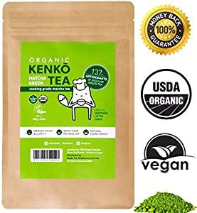 KENKO Tea - Matcha Green Tea Powder - USDA Organic - Japanese Culinary Grade Matcha Powder for Lattes Smoothies Baking -100g Bag [50 Servings]